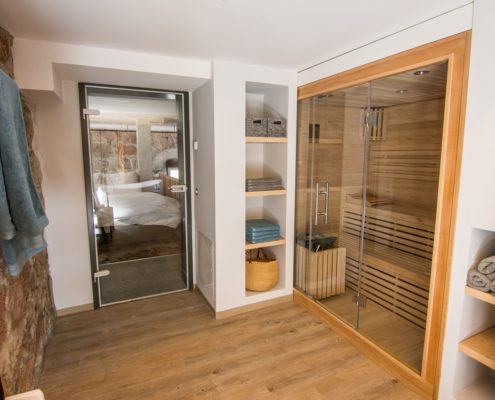 finnische Sauna in der Wellness Suite